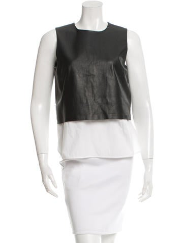 Theory Colorblock Leather Top None