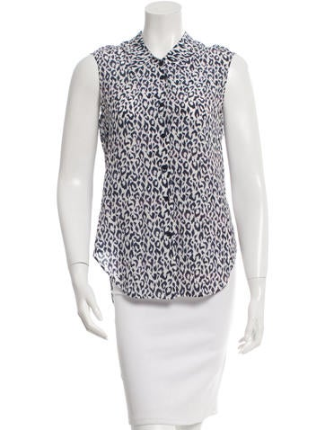 Theyskens' Theory Silk Leopard Print Top None