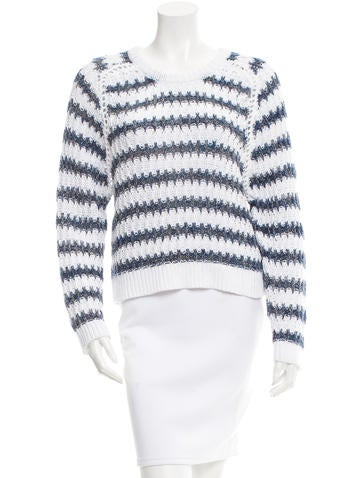 Theyskens' Theory Striped Long Sleeve Sweater None