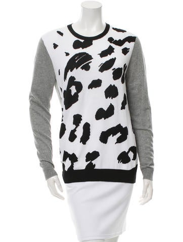 Tibi Patterned Crew Neck Sweater None