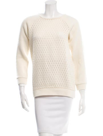 Tibi Mesh-Accented Knit Sweater None