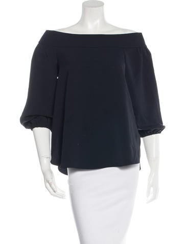 Tibi Off-The-Shoulder Long Sleeve Top None