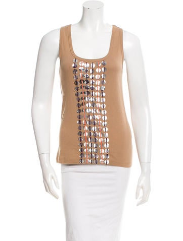 Tory Burch Sequin Embellished Sleeveless Top None