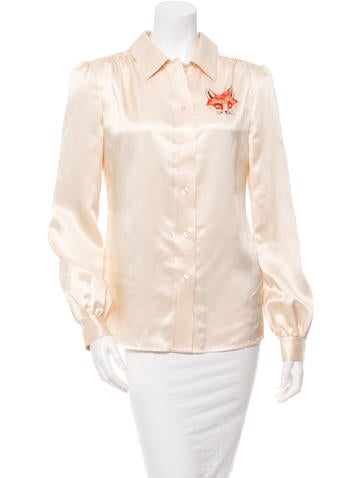 Tory Burch Print-Accented Button-Up Top None