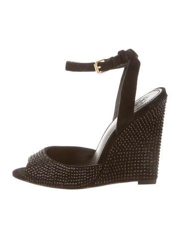 Tory Burch Jewel Embellished Wedge Sandals