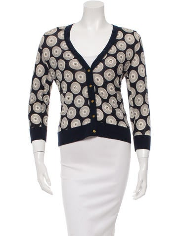 Tory Burch Patterned V-Neck Cardigan None