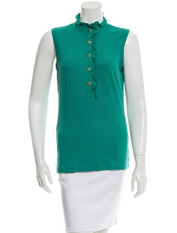 Tory Burch Ruffle-Trimmed Button-Up Top None