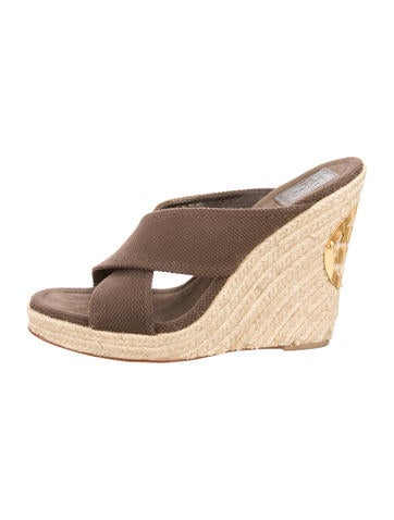 Tory Burch Woven Platform Wedge Sandals None