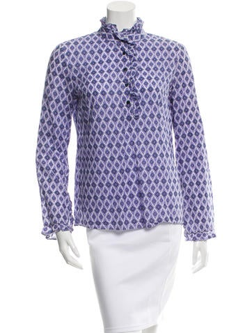 Tory Burch Long Sleeve Printed Top None