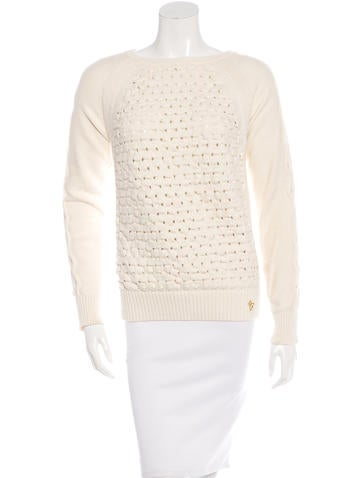 Tory Burch Long Sleeve Open-Knit Sweater None