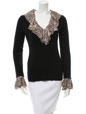 Tory Burch Wool Ruffle-Trimmed Sweater None