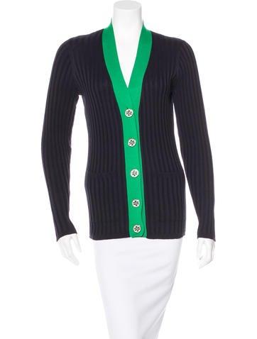 Tory Burch Colorblock Rib Knit Cardigan None