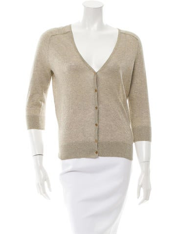 Tory Burch Rib Knit V-Neck Cardigan None