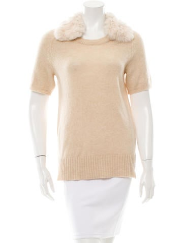 Tory Burch Fur-Trimmed Wool Sweater None