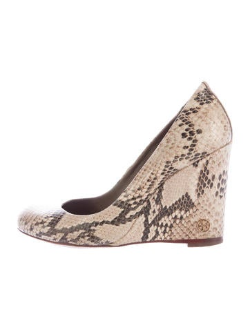Tory Burch Embossed Round-Toe Wedges None