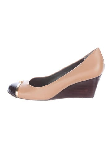 Tory Burch Leather Cap-Toe Wedges None