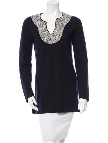 Tory Burch Embroidered Wool Tunic None
