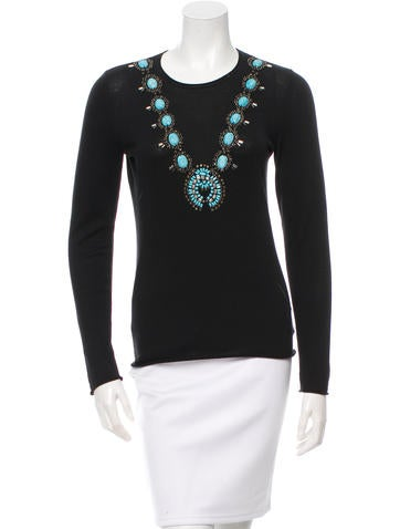 Tory Burch Jewel-Embellished Long Sleeve Top None