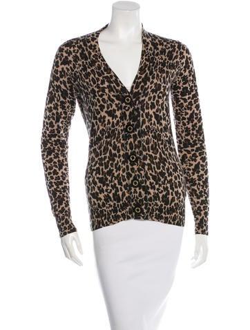 Tory Burch Leopard-Print Wool Cardigan None