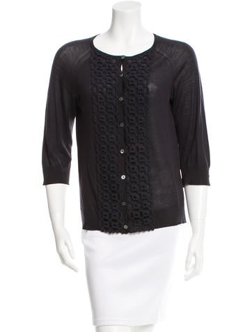 Tory Burch Crocheted Three-Quarter Sleeve Top None