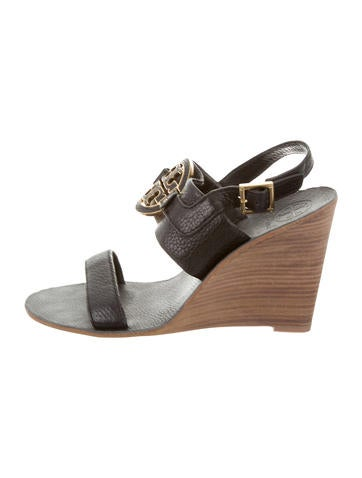 Tory Burch Leather Slingback Wedges None