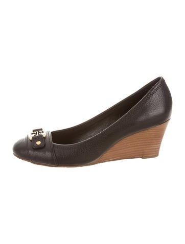 Tory Burch Leather Round-Toe Wedges None