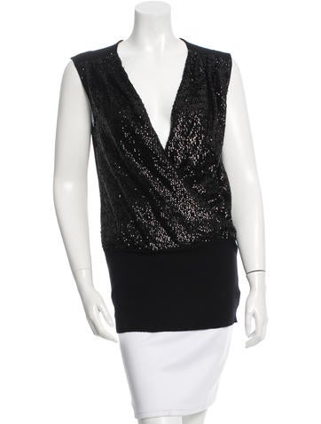 Tory Burch Sleeveless Sequin-Embellished Top None