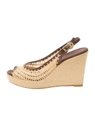 Tory Burch Woven Peep-Toe Wedges None