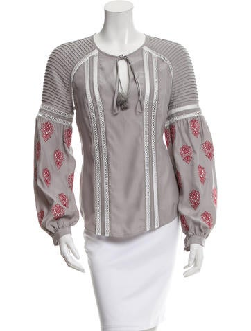Veronica Beard Silk Embroidered Top w/ Tags None