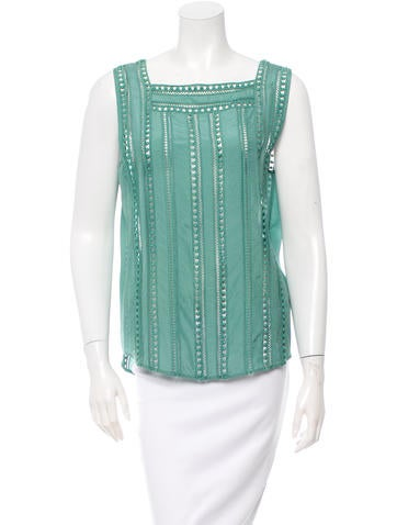Veronica Beard Surfside Embroidered Top None