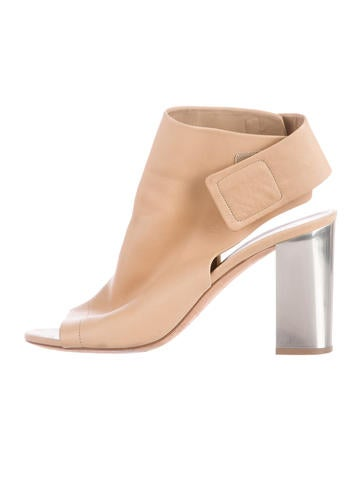 Vince Leather Peep-Toe Ankle Boots None