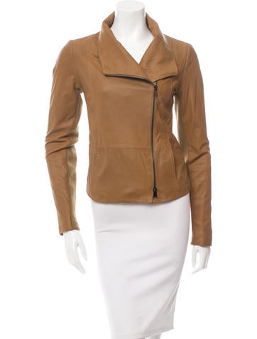 Vince Leather Rib Knit-Trimmed Jacket w/ Tags None