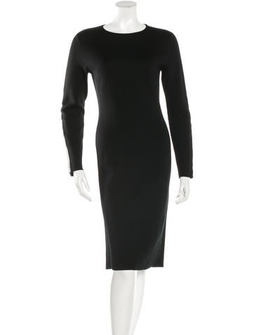 Ralph Lauren Leather-Trimmed Long Sleeve Dress None