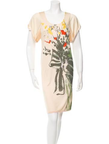 Yigal Azrouël Short Sleeve Printed Dress