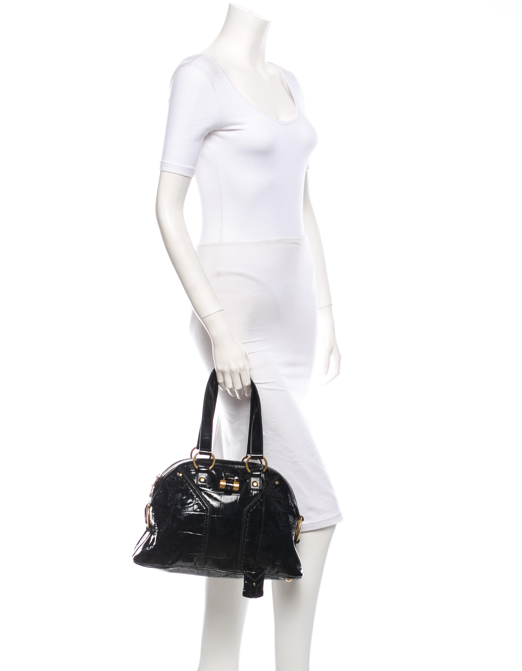 yves saint laurent patent leather min muse tote