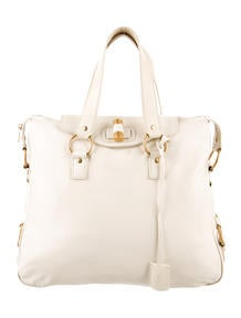 Yves Saint Laurent Buckle-Embellished Patent Leather Downtown Tote ...