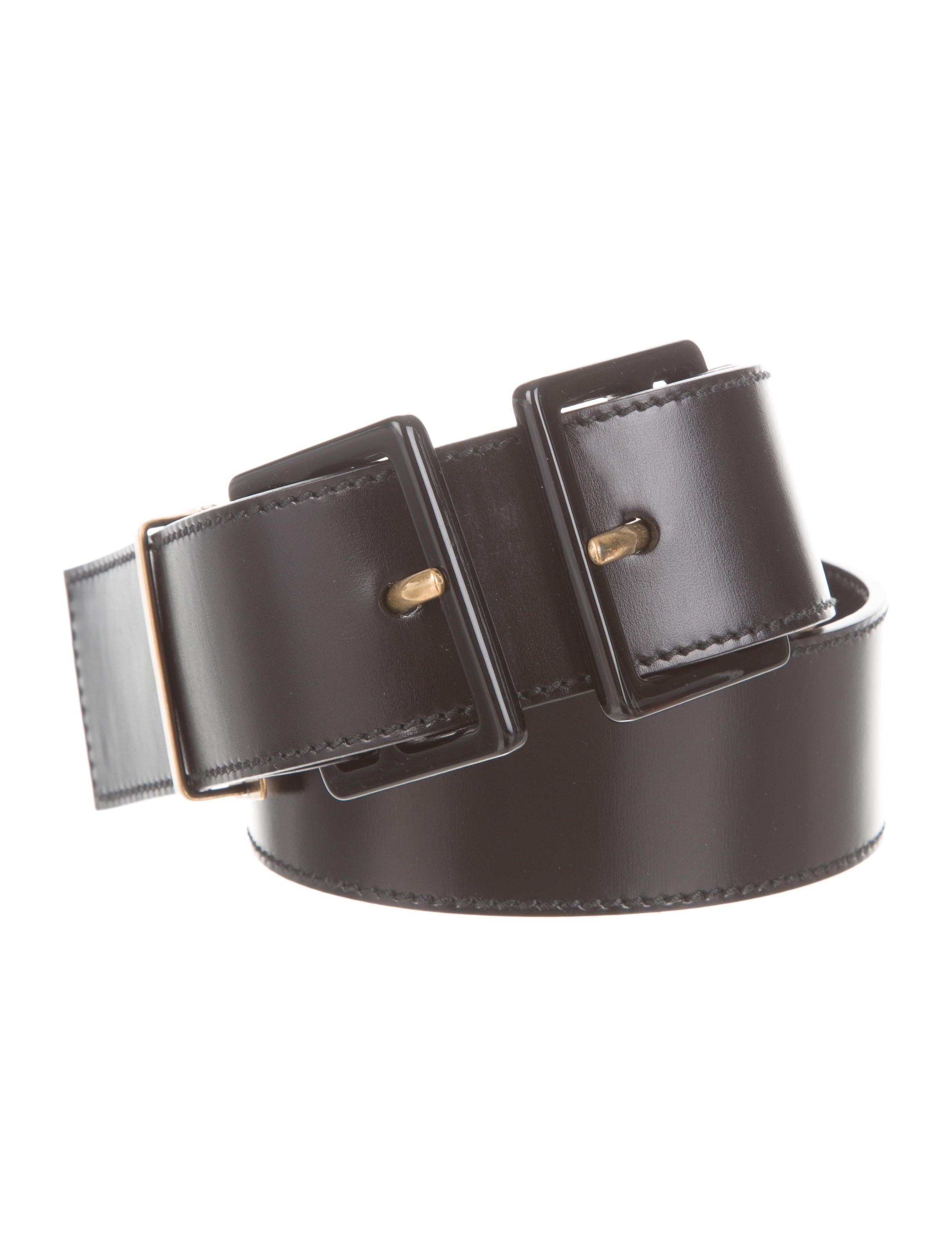yves laurent black leather belt accessories