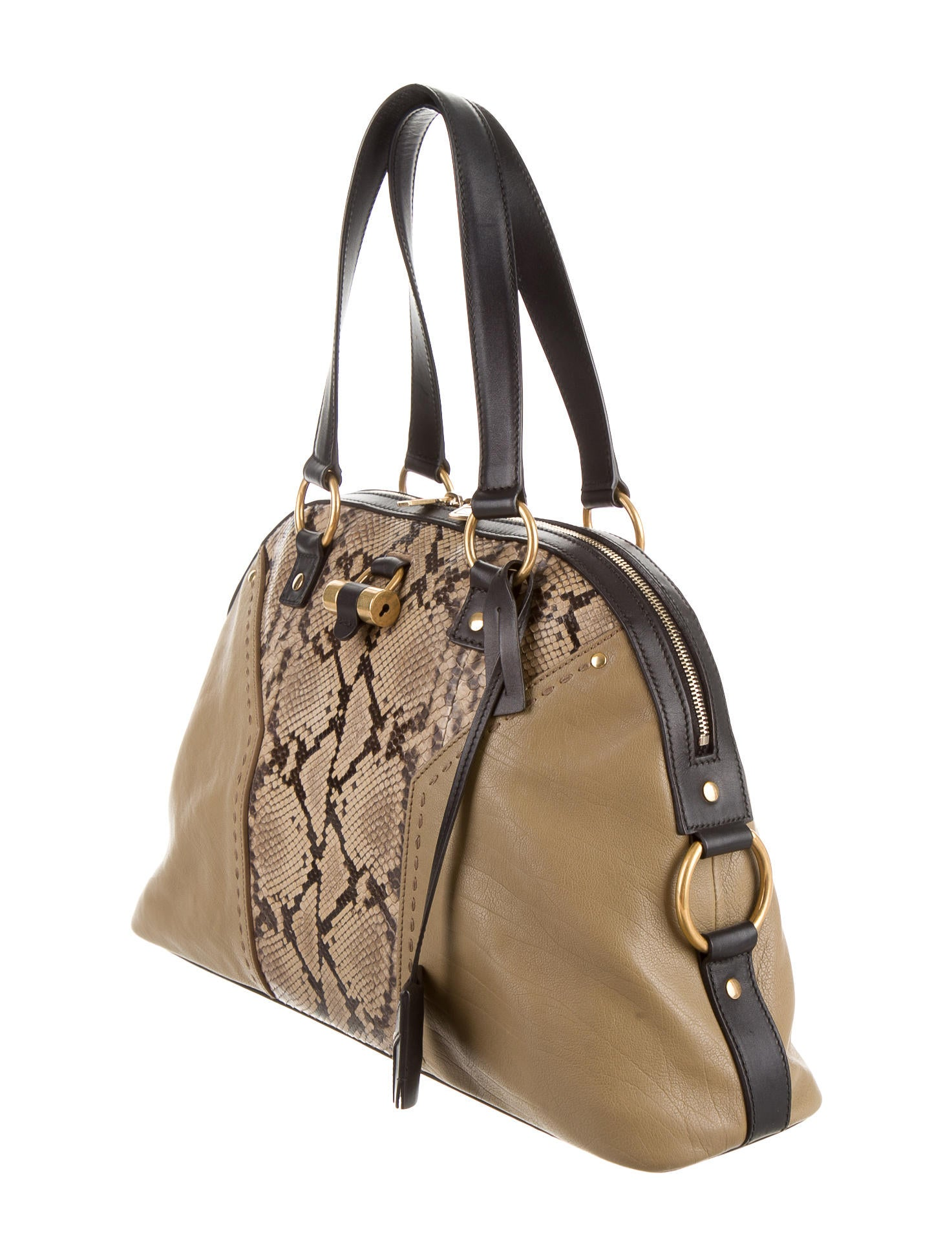 yves saint laurent snakeskin accented muse tote
