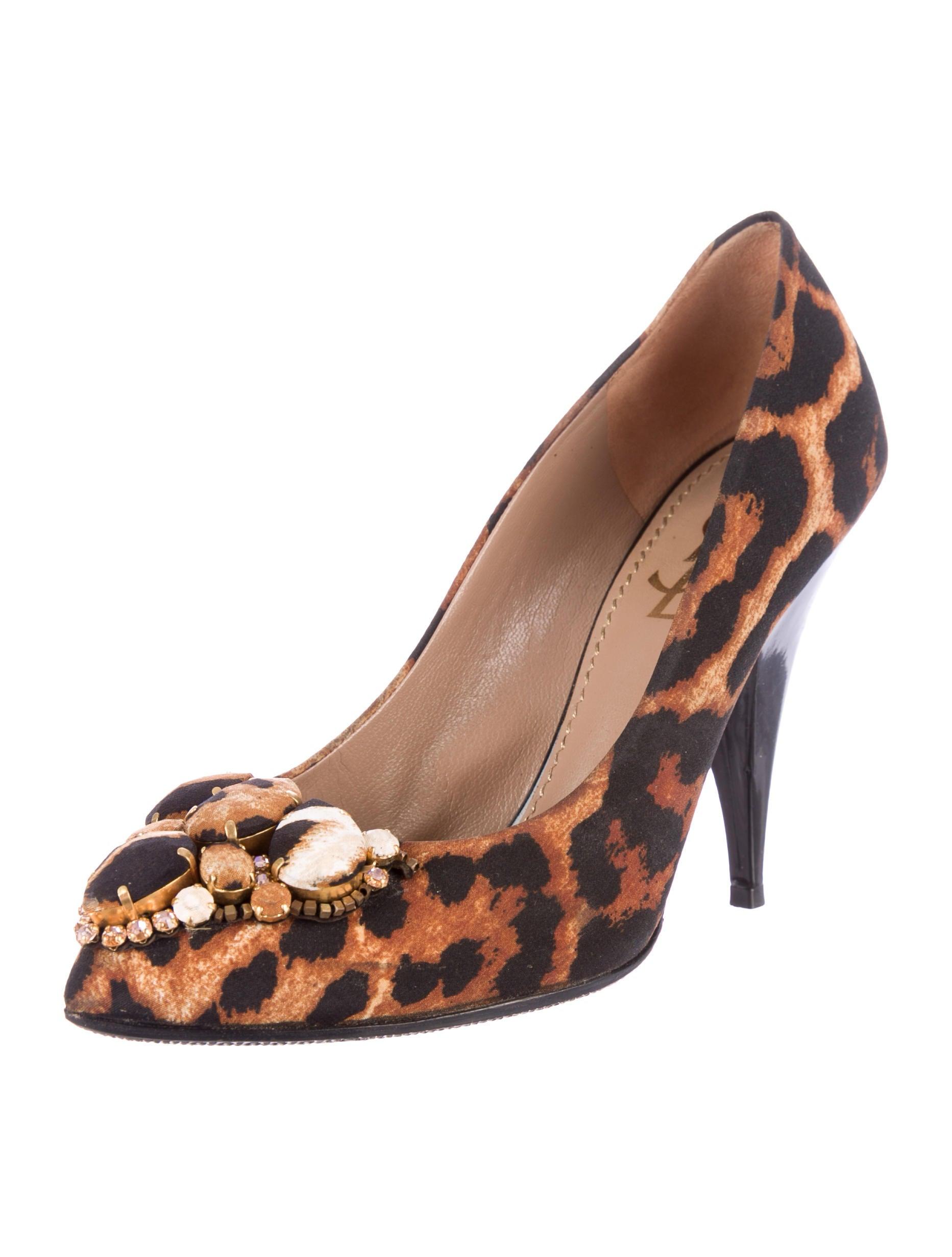 yves laurent leopard print canvas pumps shoes