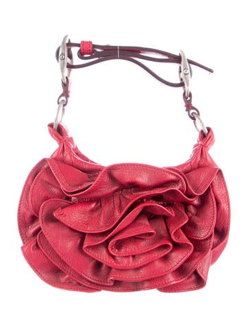 yves saint laurent rosette-embellished handle bag