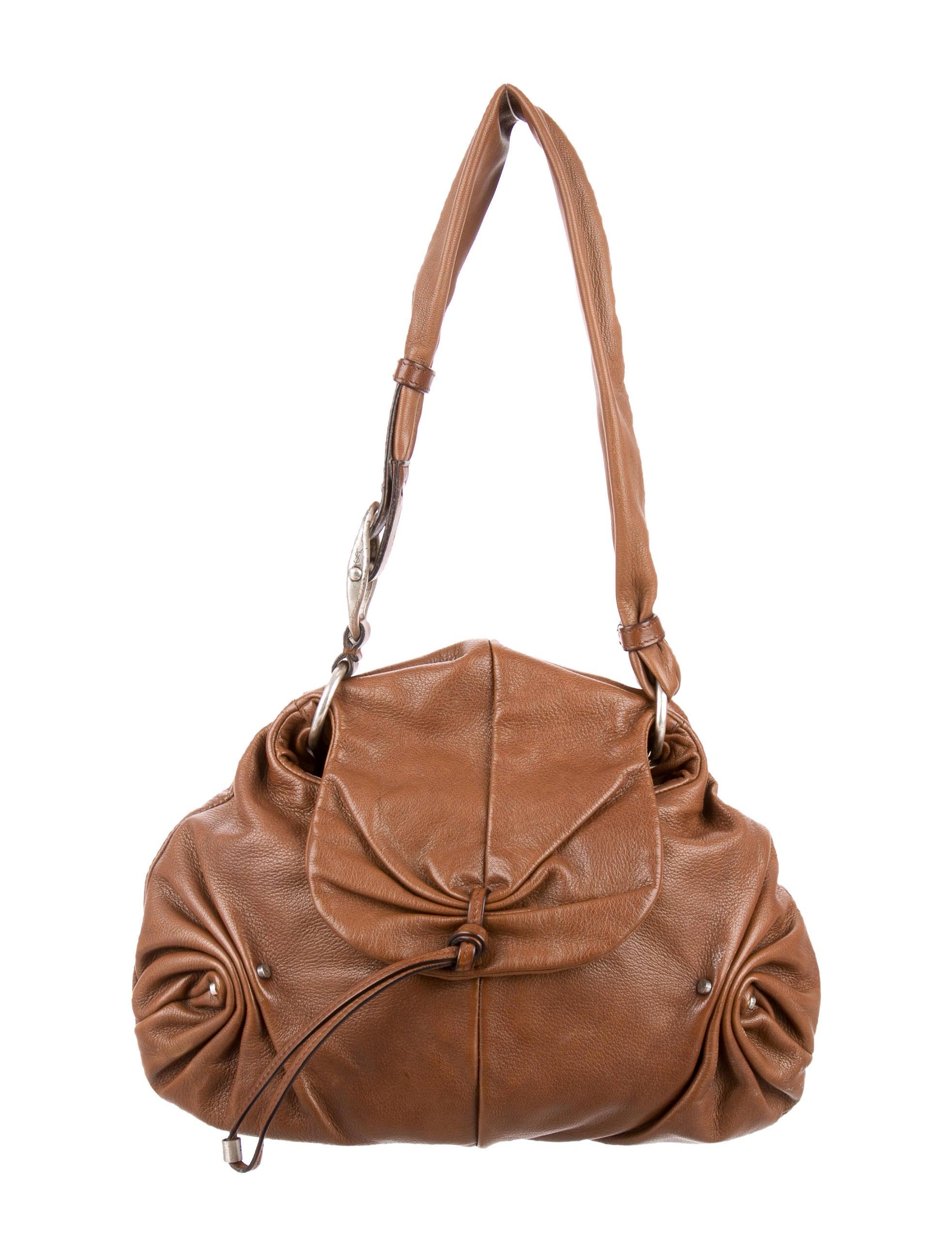 Yves Saint Laurent Ruched Leather Shoulder Bag - Handbags ...