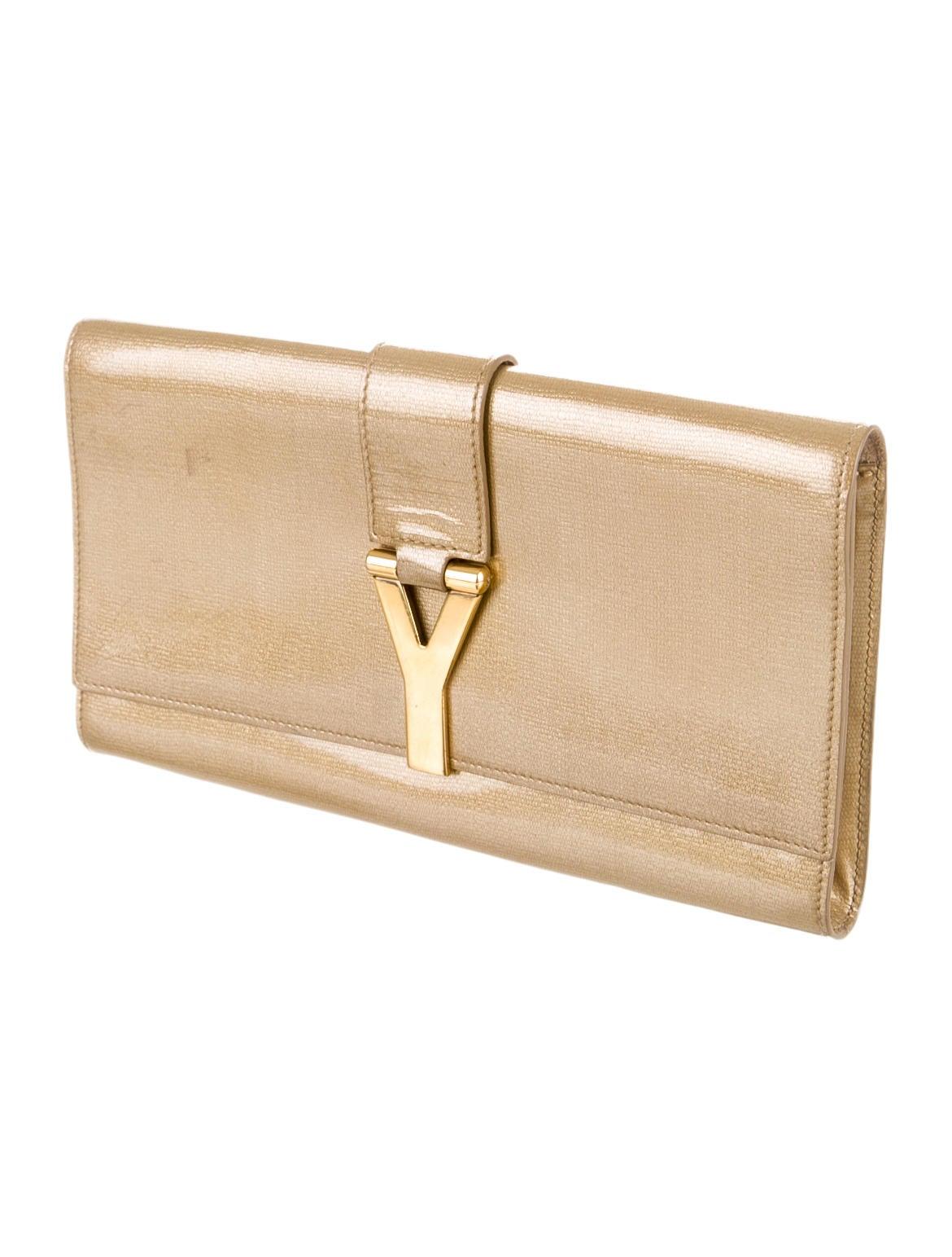 y saint laurent borse - yves saint laurent logo-accented clutch, yves st.laurent purses