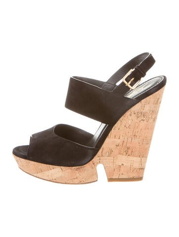 Yves Saint Laurent Suede Slingback Wedge Sandals