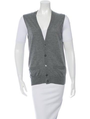 Yves Saint Laurent Virgin Wool Sleeveless Cardigan None