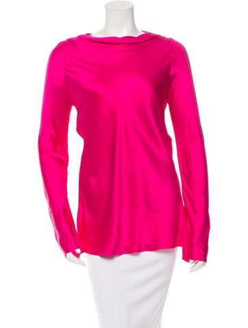 Yves Saint Laurent Fitted Silk Long Sleeve top None