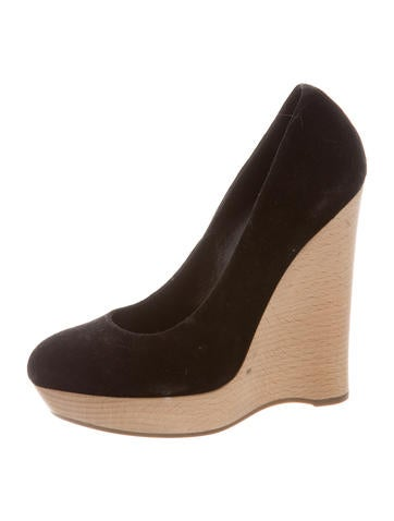 Yves Saint Laurent Round-Toe Suede Wedges None