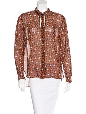 Yves Saint Laurent Silk Button-Up Top None