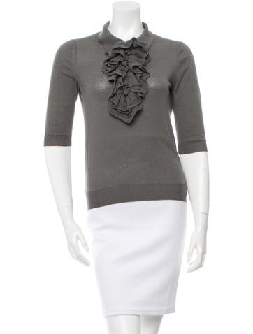 Yves Saint Laurent Ruffle-Accented Knit Sweater None